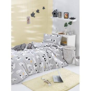 Lenjerie de pat din bumbac ranforce pentru pat de 1 persoană Mijolnir Liana Grey, 140 x 200 cm bonami.ro