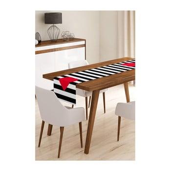 Napron din microfibră pentru masă Minimalist Cushion Covers Stripes with Red Heart, 45x145cm bonami.ro