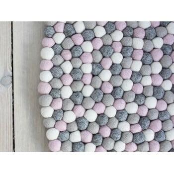 Covor cu bile din lână Wooldot Ball Rugs, ⌀ 140 cm, gri roz deschis imagine