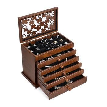 Cutie de bijuterii din lemn cu 5 sertare Songmics imagine
