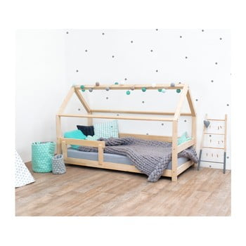 Pat pentru copii, din lemn de molid cu bariere de protecție laterale Benlemi Tery, 80 x 160 cm bonami.ro