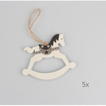 Set 5 decorațiuni suspendate din lemn în formă de cal Dakls, lungime 9 cm, alb bonami.ro