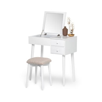 Masă de toaletă cu oglindă, 2 sertare și cutie de bijuterii și Chez Ro Beauty, alb poza bonami.ro