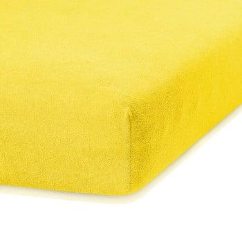 Cearceaf elastic AmeliaHome Ruby, 200 x 140-160 cm, galben închis bonami.ro