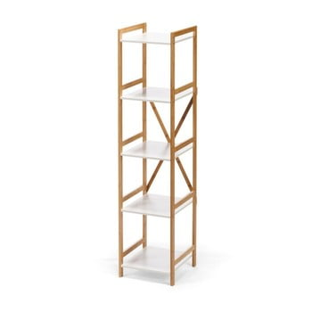 Etajeră îngustă cu 4 nivele, cu structură din bambus loomi.design Lora, alb bonami.ro