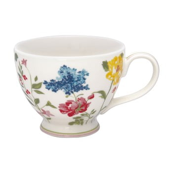Ceașcă din gresie ceramică cu motive florale Green Gate Thilde,400ml, alb bonami.ro