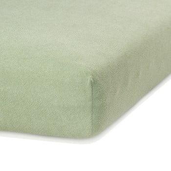 Cearceaf elastic AmeliaHome Ruby, 200 x 80-90 cm, verde măsliniu bonami.ro