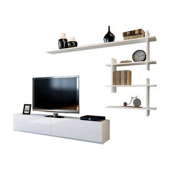 Set comodă TV și raft de perete Woody Fashion Ahenk, alb bonami.ro