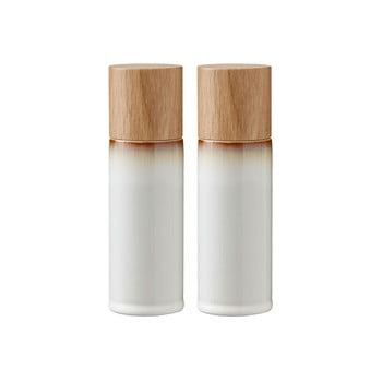 Set 2 râșnițe din gresie ceramică pentru sare și piper Bitz Basics Cream, crem bonami.ro