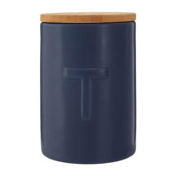Recipient pentru ceai cu capac din lemn de bambus Premier Housewares Fenwick, albastru închis bonami.ro
