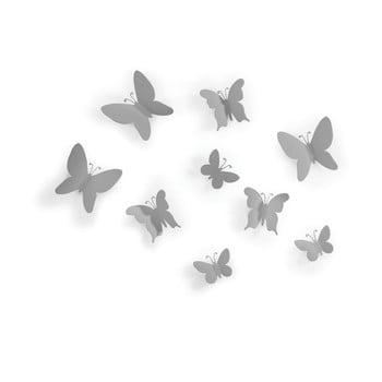 Set 9 decorațiuni 3D de perete Umbra Butterflies, gri poza bonami.ro