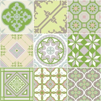 Set 9 autocolante Ambiance Shade of Green, 10 x 10 cm poza bonami.ro