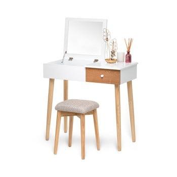 Masă de toaletă cu oglindă, cutie de bijuterii și scaun și Chez Ro Beauty, alb poza bonami.ro