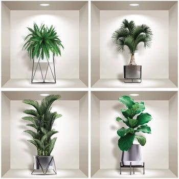 Set 4 autocolante 3D pentru perete Ambiance Indoor Plants bonami.ro
