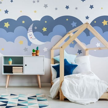 Autocolant Ambiance Scandinavian Clouds With Stars And Moon bonami.ro