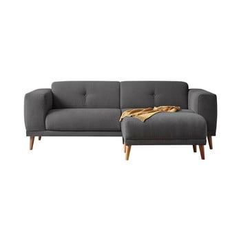 Canapea cu 3 locuri și taburet Bobochic Paris Luna, gri închis imagine