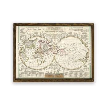 Tablou cu ramă din lemn World, 70 x 50 cm poza bonami.ro