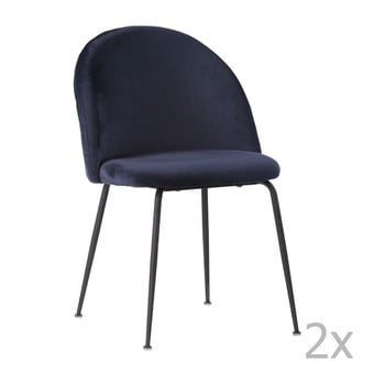 Set 2 scaune cu picioare negre House Nordic Geneve, albastru