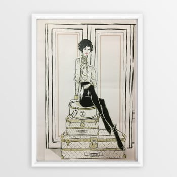Tablou cu ramă Piacenza Art Chanel Suitcases, 23 x 33 cm poza bonami.ro