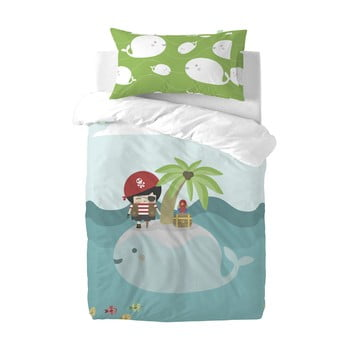 Lenjerie de pat din amestec de bumbac pentru copii Happynois Pirata, 120x100cm poza bonami.ro