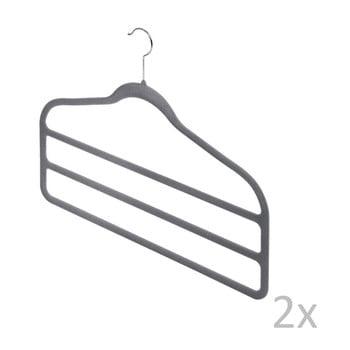 Set 2 umerașe pantaloni Domopak Velvet Hangers, gri bonami.ro