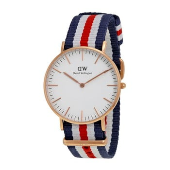 Ceas Daniel Wellington Canterbury Rose, ⌀ 36 mm, alb-roz auriu imagine