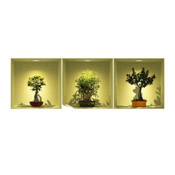 Set 3 autocolante cu efect 3D Ambiance Bonsai Trees On Spot bonami.ro
