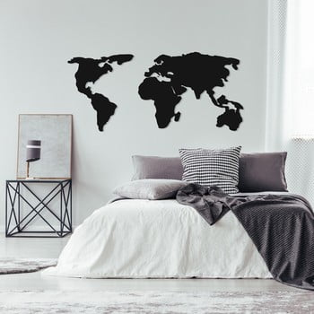Decorațiune metalică de perete World Map Two, 121 x 56 cm, negru poza bonami.ro