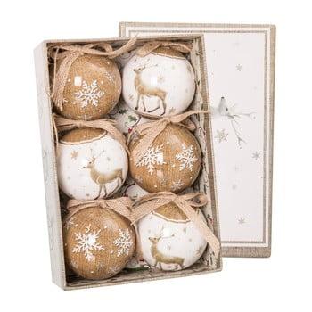 Set 6 decorațiuni pentru Crăciun Unimasa Deers, bej - alb bonami.ro