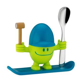 Suport pentru ou cu lingură WMF Cromargan® Mc Egg, albastru - verde poza bonami.ro