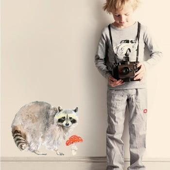 Autocolant refolosibil Raccoon, 40x30 cm poza bonami.ro