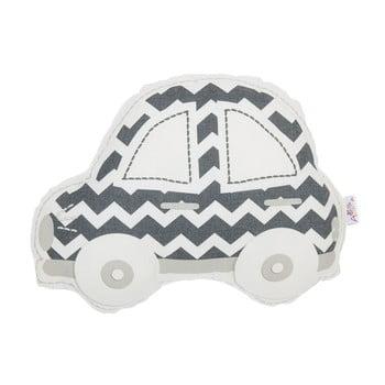 Pernă din amestec de bumbac pentru copii Mike&Co.NEWYORK Pillow Toy Car, 32 x 25 cm, gri - alb poza bonami.ro