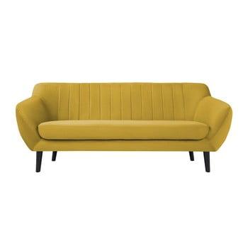 Canapea cu tapițerie din catifea Mazzini Sofas Toscane, 188 cm, galben imagine