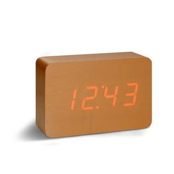 Ceas deșteptător cu LED Gingko Brick Click Clock, maro - roșu bonami.ro