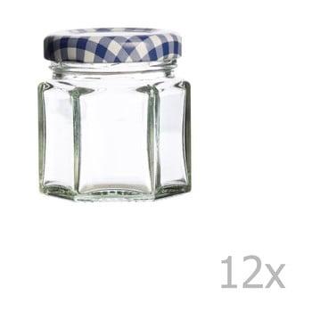 Set 12 borcane cu capac albastru Kilner Hexagonal, 48 ml poza bonami.ro
