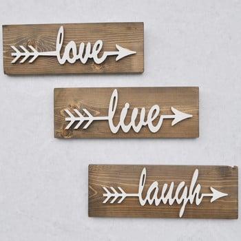 Set 3 decorațiuni din lemn pentru perete White Love Hole bonami.ro