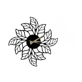 Ceas de perete Glozis Leaves Clock, ⌀ 48 cm, negru bonami.ro