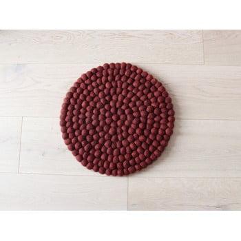 Pernă cu bile din lână, pentru copii Wooldot Ball Chair Pad, ⌀ 30 cm, vișiniu închis poza bonami.ro