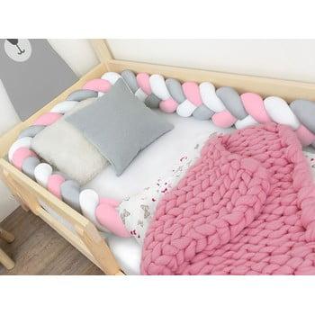 Protecție pătuț Benlemi Jersey,lungime 550cm, alb - gri - roz imagine