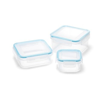 Set 3 recipiente cu capac pentru mâncare Addis Clip And Close Square bonami.ro