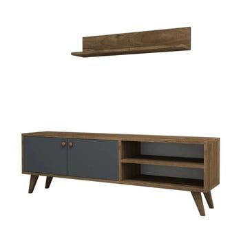 Set comodă TV și raft de perete Puqa Design Erho Walnut bonami.ro