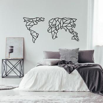 Decorațiune metalică de perete Geometric World Map, 120 x 58 cm, negru poza bonami.ro