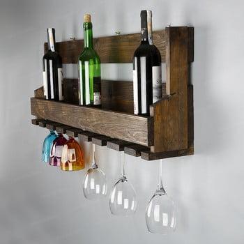 Stand pentru vin fabricat manual, din lemn masiv cu suport pentru pahare Catalin Faina, 90x30x12cm imagine