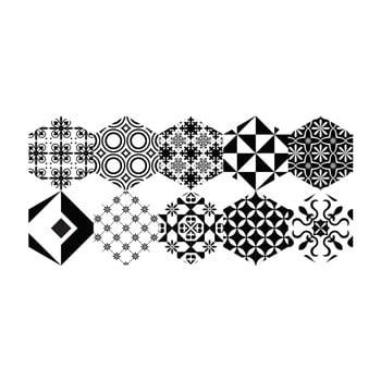 Set 10 autocolante de podea Ambiance Hexagons Nemesio, 40 x 90 cm poza bonami.ro