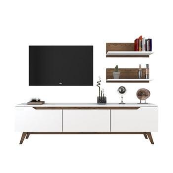 Set comodă TV și 2 etajere de perete Rani White, alb-natural poza bonami.ro
