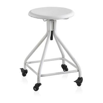 Scaun din metal cu roți și înălțime reglabilă Geese Industrial Style, alb imagine