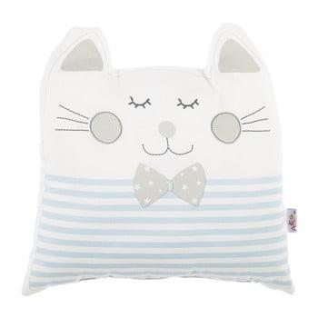 Pernă din amestec de bumbac pentru copii Mike&Co.NEWYORK Pillow Toy Big Cat, 29 x 29 cm, albastru bonami.ro