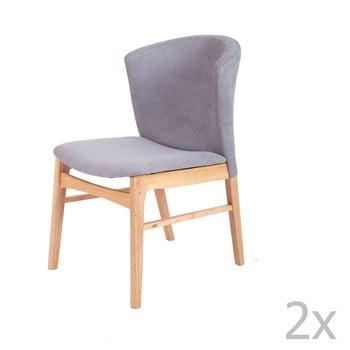Set 2 scaune cu picioarele maro deschis din lemn de cauciuc sømcasa Mara, gri poza bonami.ro