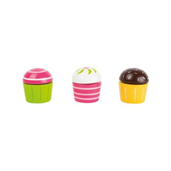 Set 3 brioșe din lemn pentru copii Legler Cupcakes bonami.ro