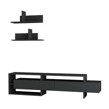 Set comodă TV și 2 rafturi de perete Homitis Gara, gri antracit imagine